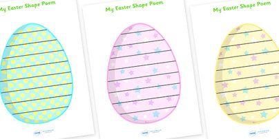 easter egg shape poetry shape poetry shape poetry shape poems