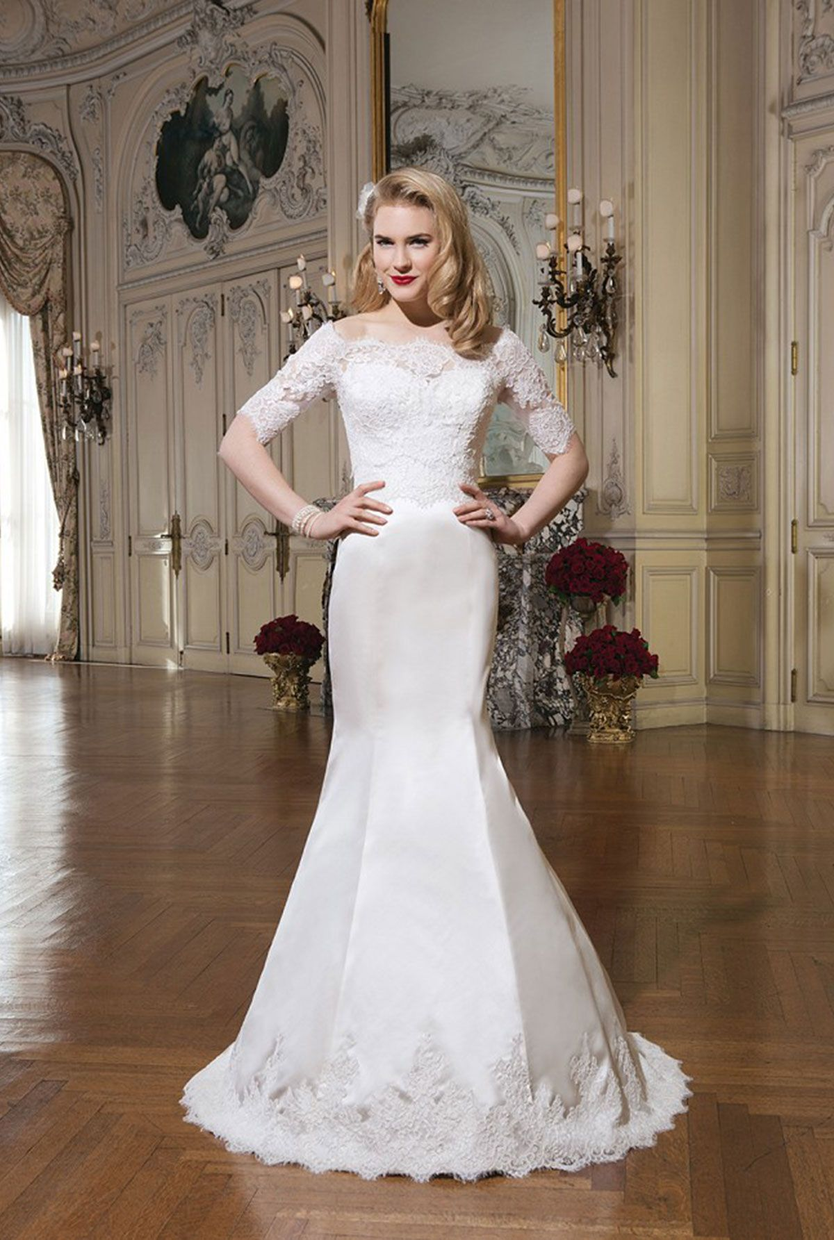 Lace dress styles for wedding  Justin Alexander  Julie Regal satin alencon lace fit and flare