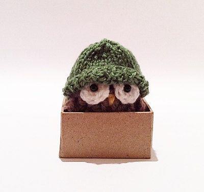 Miniature Owl Decor with Tiny Sage Green Beanie by KnitADeeDooDah, £10.50