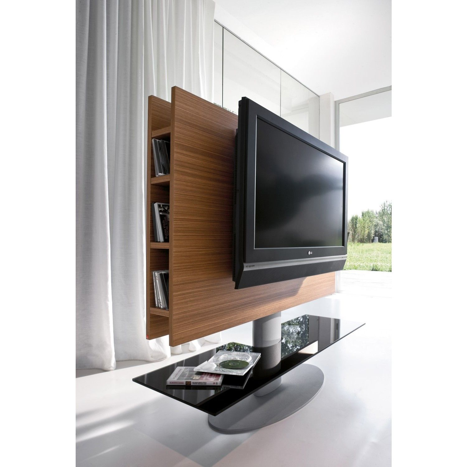meuble tv orientable cortes avec panneau en bois fini noyer canaletto et plateau en verre verni. Black Bedroom Furniture Sets. Home Design Ideas