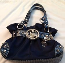 Kathy Vanzeeland navy blue purse with keychain EUC