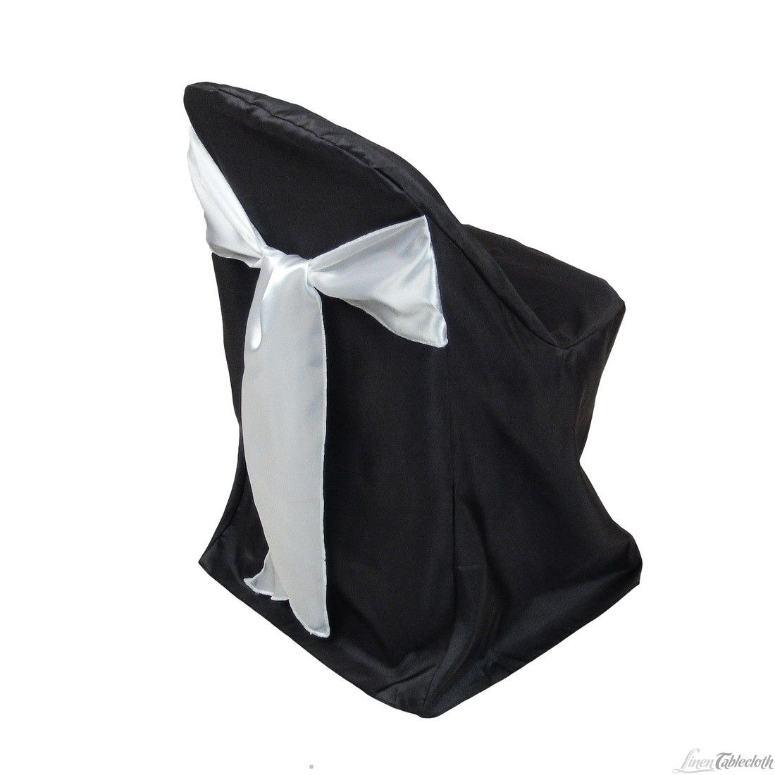 Buy Black Polyester Folding Chair Covers With Wide White