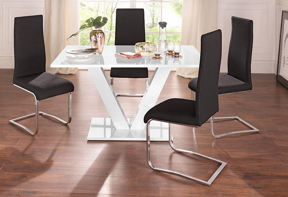 Essgruppe mit 4 Stühlen und Tisch in weiß Hochglanz Jetzt bestellen ...