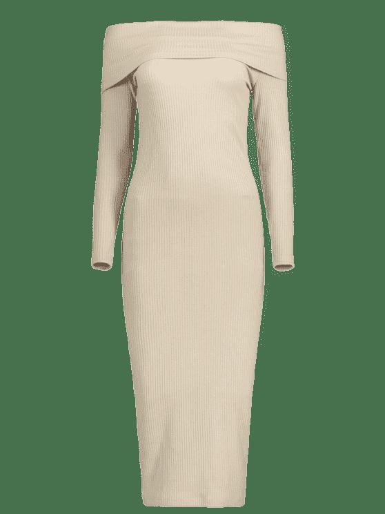 c729d29c4f7 Off The Shoulder Plain Knitted Dress - LIGHT KHAKI L