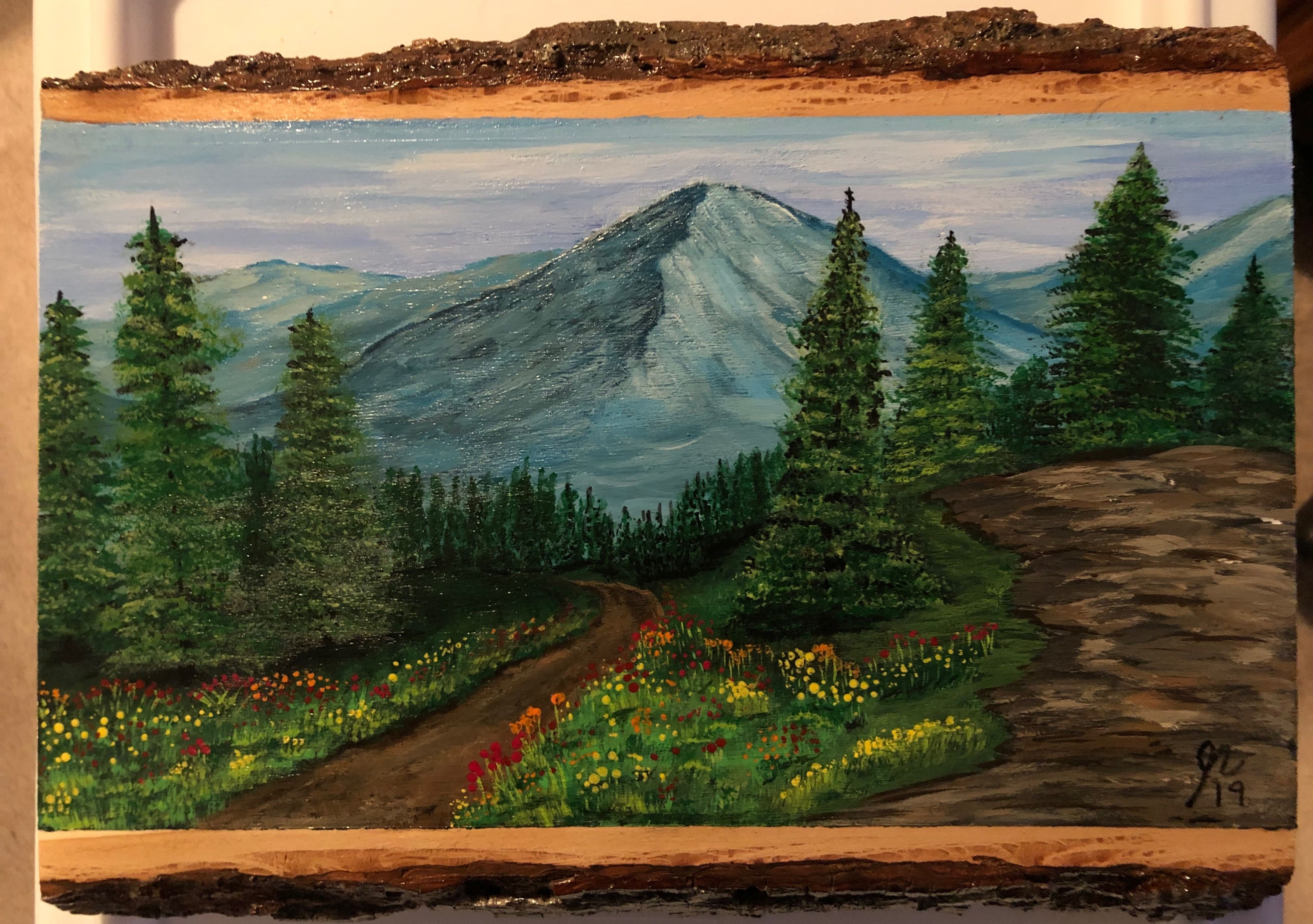 Mountain Scene Painted On Wood Mountain Scene Painting On Wood Mountains