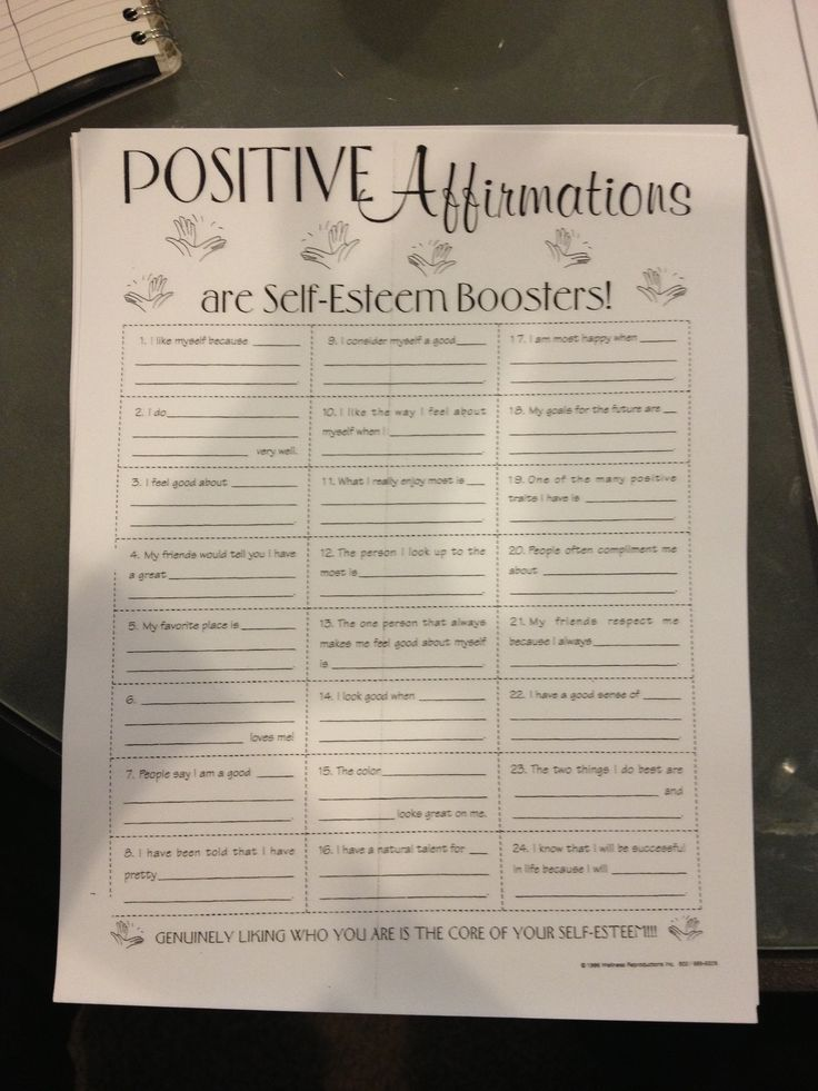 Positive Affirmations Self Esteem Activities Therapy Worksheets Positivity