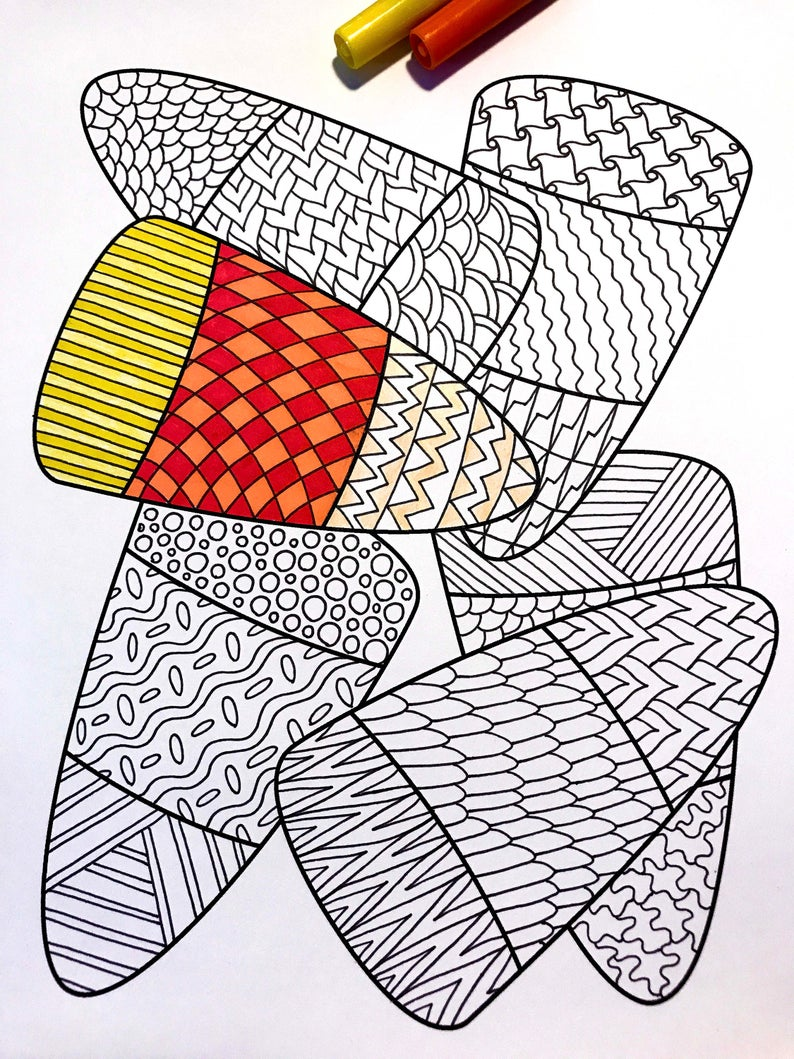Candy Corn Pdf Zentangle Coloring Page Etsy Coloring Pages Halloween Zentangle Sketch Book