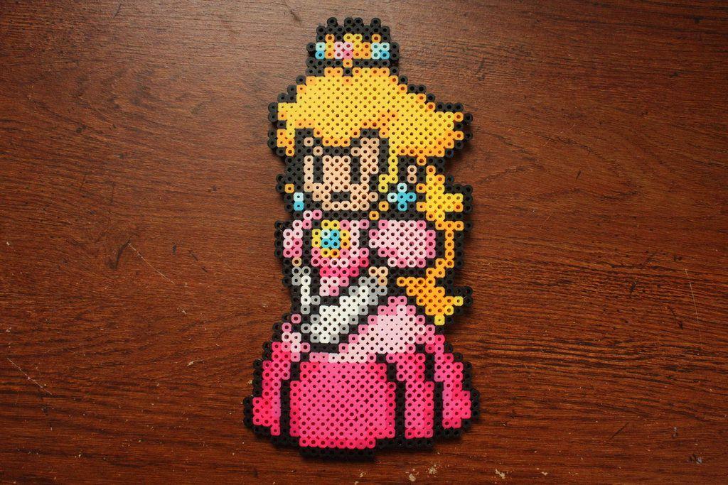 Perler Bead Princess Peach By Puppylover5 Perler Bead Art