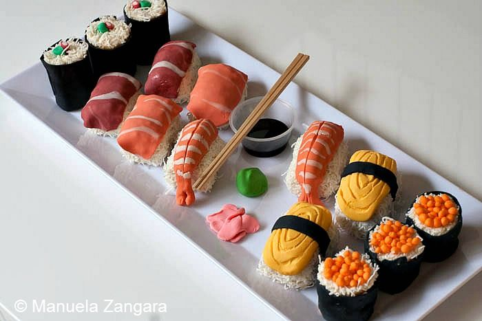 #sushi cakes, use shredded coconut to look like the rice... #genius www.AllThingsBaking.org
