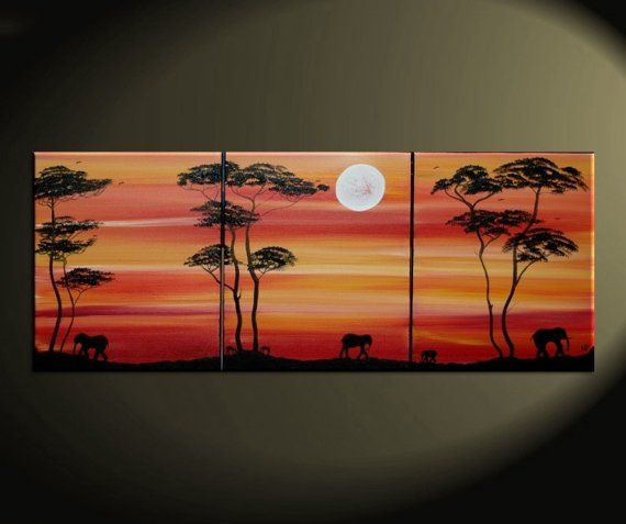 Abstract Sunset Painting African Elephant and by NathalieVan, $225.00