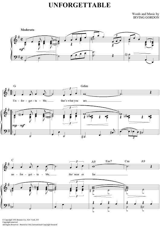 Unforgettable Sheet Music By Nat King Cole - Sheet Music Plus