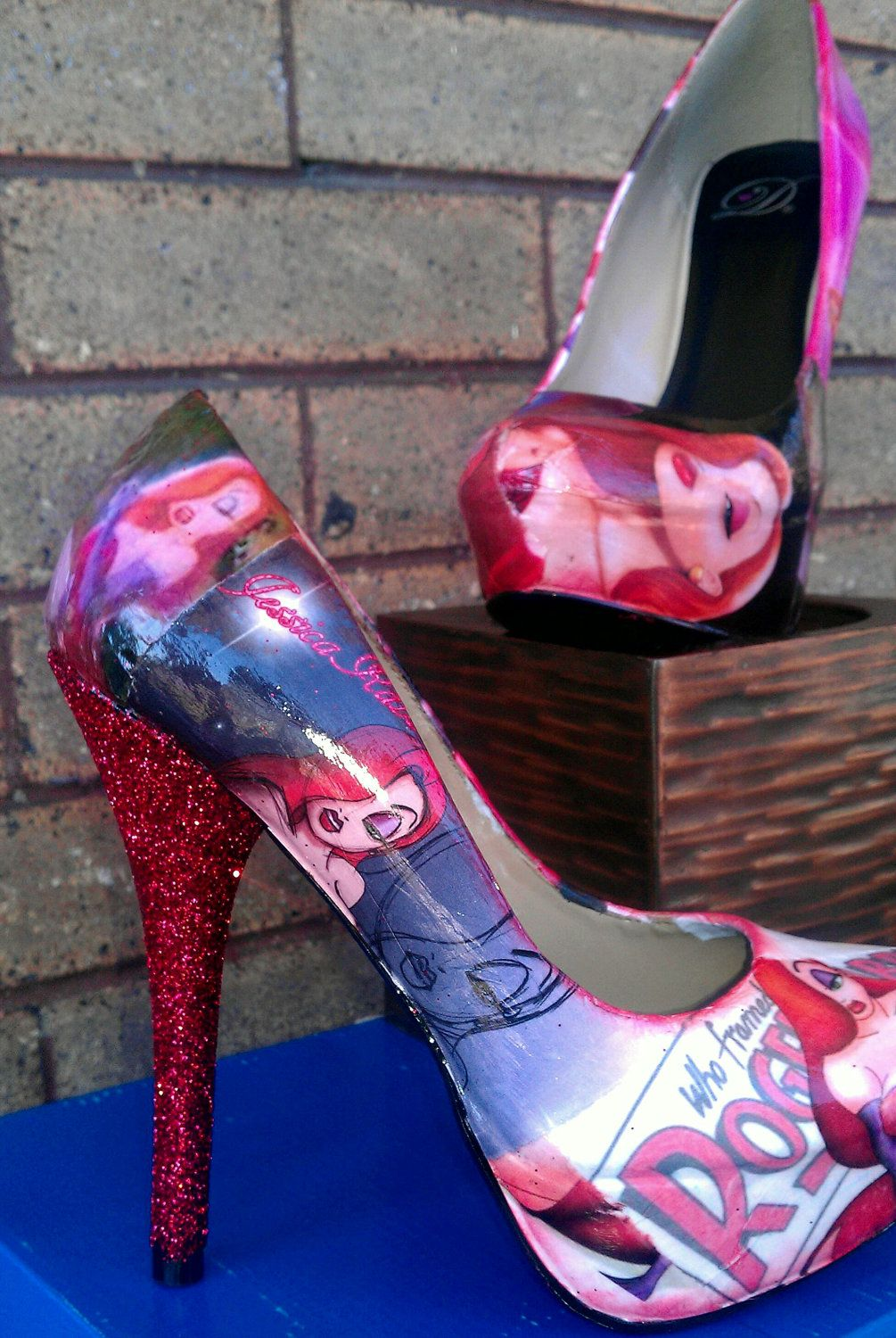 Jessica Rabbit, glittered heel size 6 READY FOR DELIVERY (prints-not vintaged). $85.00, via Etsy.