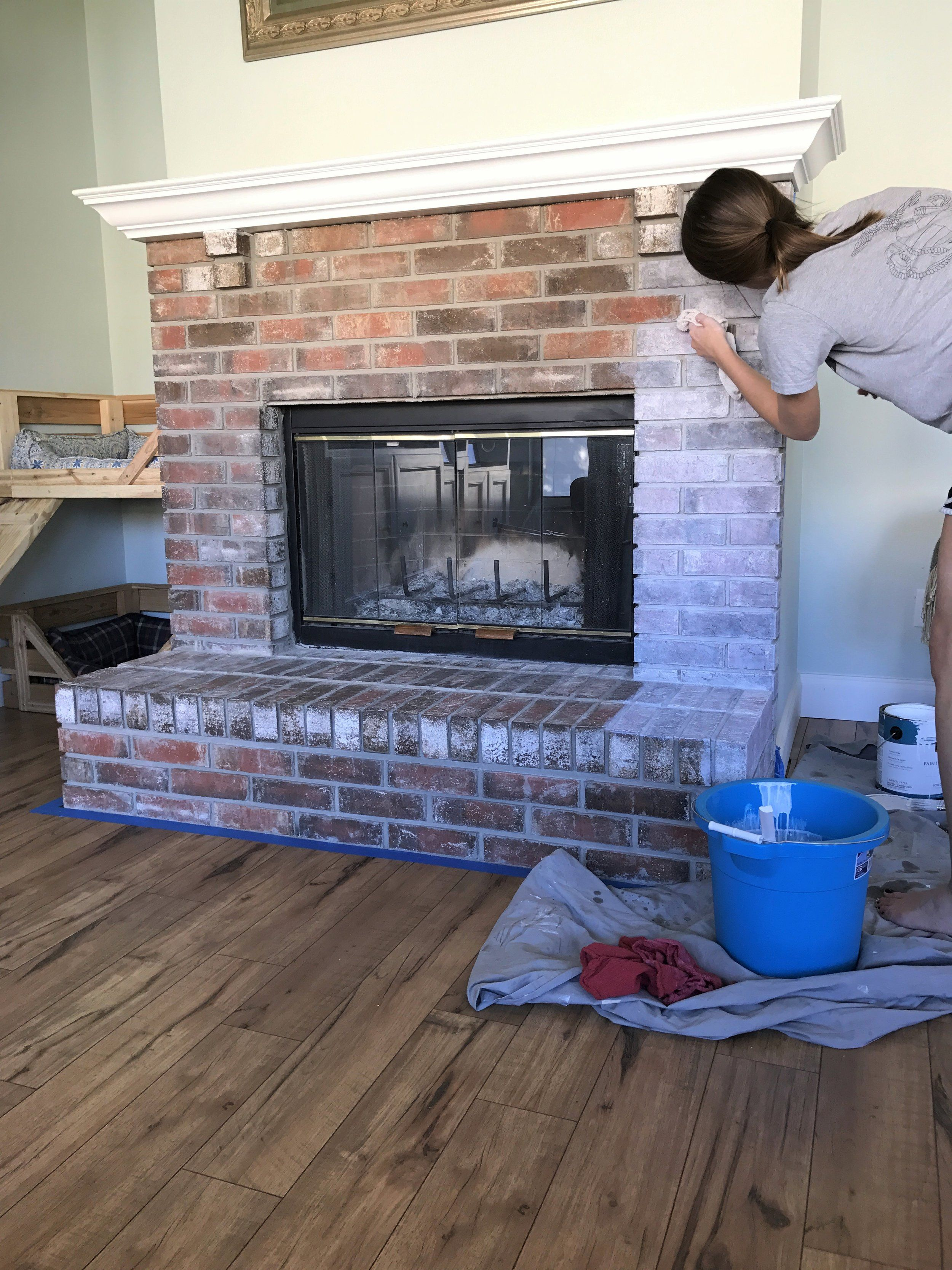 How to Whitewash a Brick Fireplace | Brick fireplace decor ...