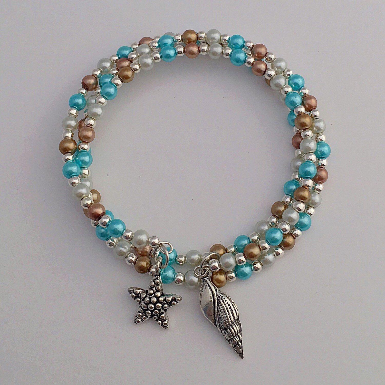 Beach Beaded Bracelet, Blue Nautical Seaside Memory Wire Glass Pearl ...