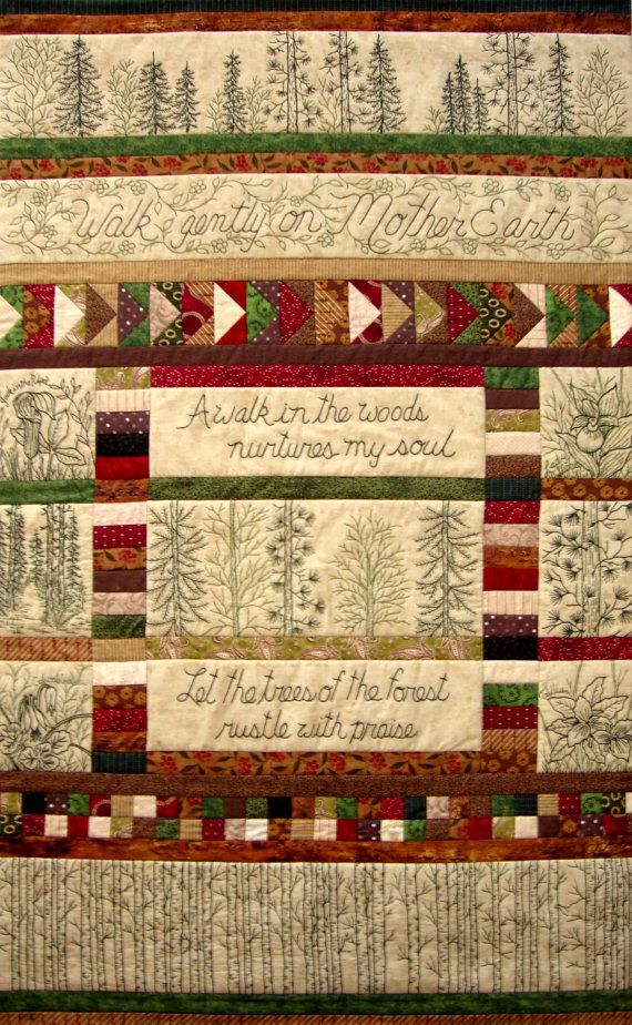 A Woodland Walk Embroidery Quilt In Earth Tones Block A Month Join
