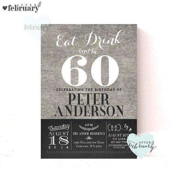 60th Birthday Invitation Adult Milestone Birthday Invitation Any
