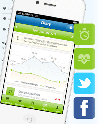 Slimming.com smartphone tablet app for fitness and dieting
