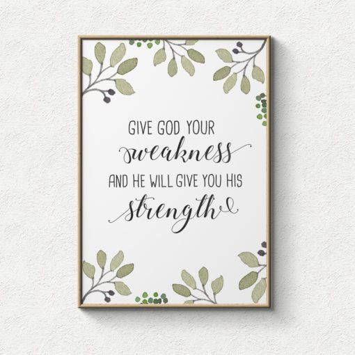 Poster: Give God your weakness and He will give you His strength