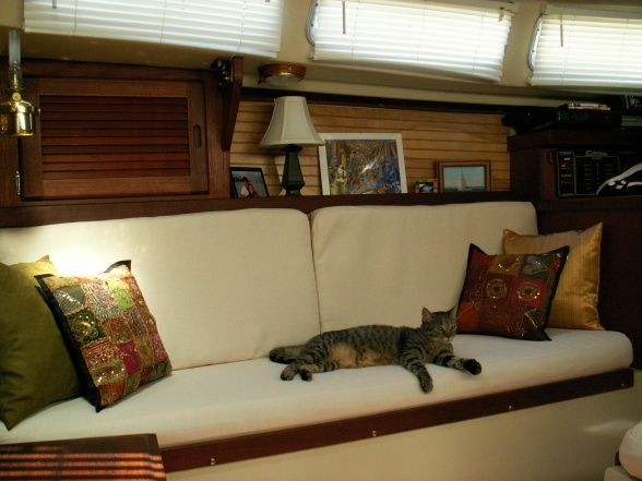 Sailboat, This Is The Redesigned Boat Interior Of A Catalina 30 Sailboat.  Painted The Floor, Coavered The Cushions With An Off White Natural Fiber  Fabric ...