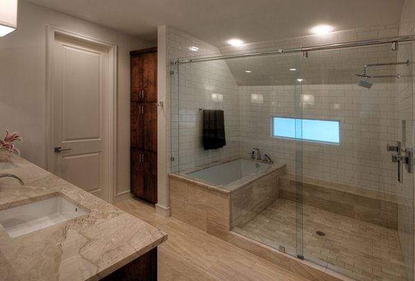 how you can make the tub shower combo work for your bathroom large bathrooms tubs and tub. Black Bedroom Furniture Sets. Home Design Ideas