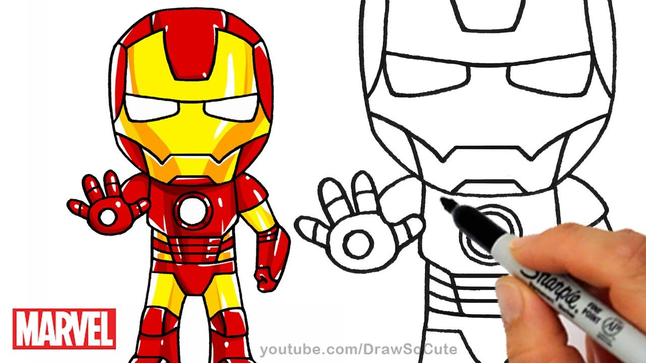 How To Draw Iron Man Step By Step Chibi Marvel Superhero With Images Iron Man Drawing Iron Man Drawing Easy Iron Man Painting