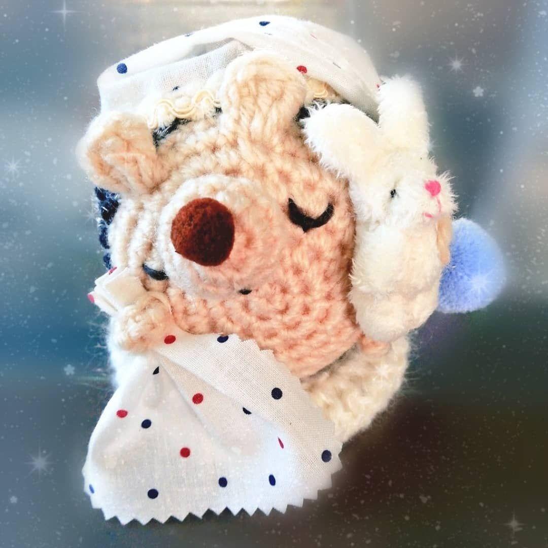 追加でスヤスヤまん丸ハリネズミをもう1匹作りました ナイトキャップを少し大きめにして 目の刺繍も少し変えて作ってみました 抱っこのぬいぐるみはウサちゃん いろんなナイトキャップ柄で作ってみたくなってきてウズウズしています っ w crochet animals