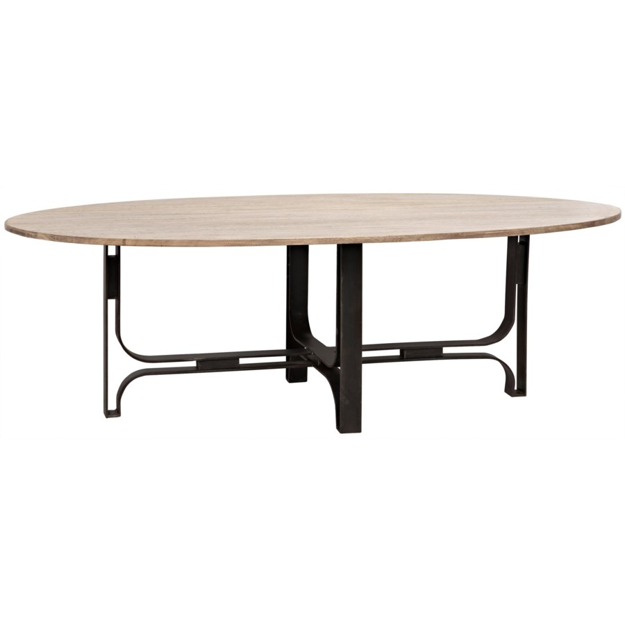 Adrien Oval Table Washed Walnut Walnut And Metal Dining Tables