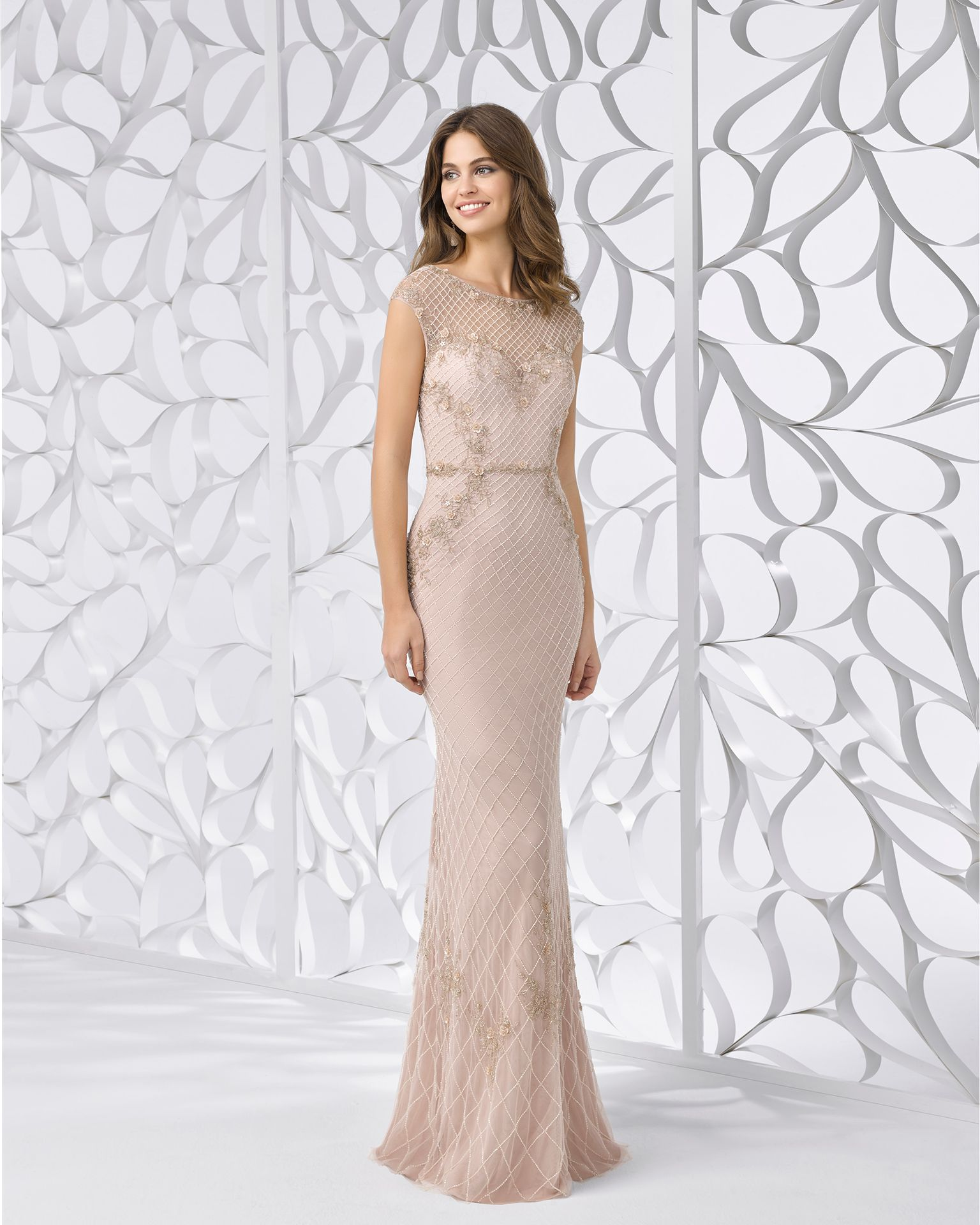 c3c3d0a2c47 Beaded embroidery cocktail dress with bateau neckline and illusion back.  Available in nude. 2018 FIESTA AIRE BARCELONA Collection.