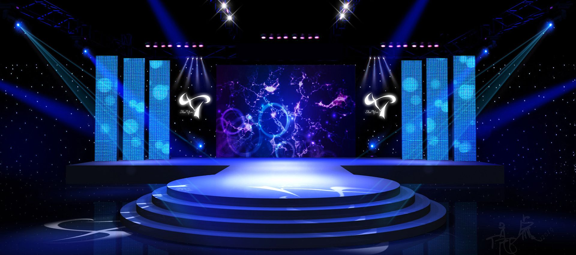 Colorful Stage Background Banner Decoration