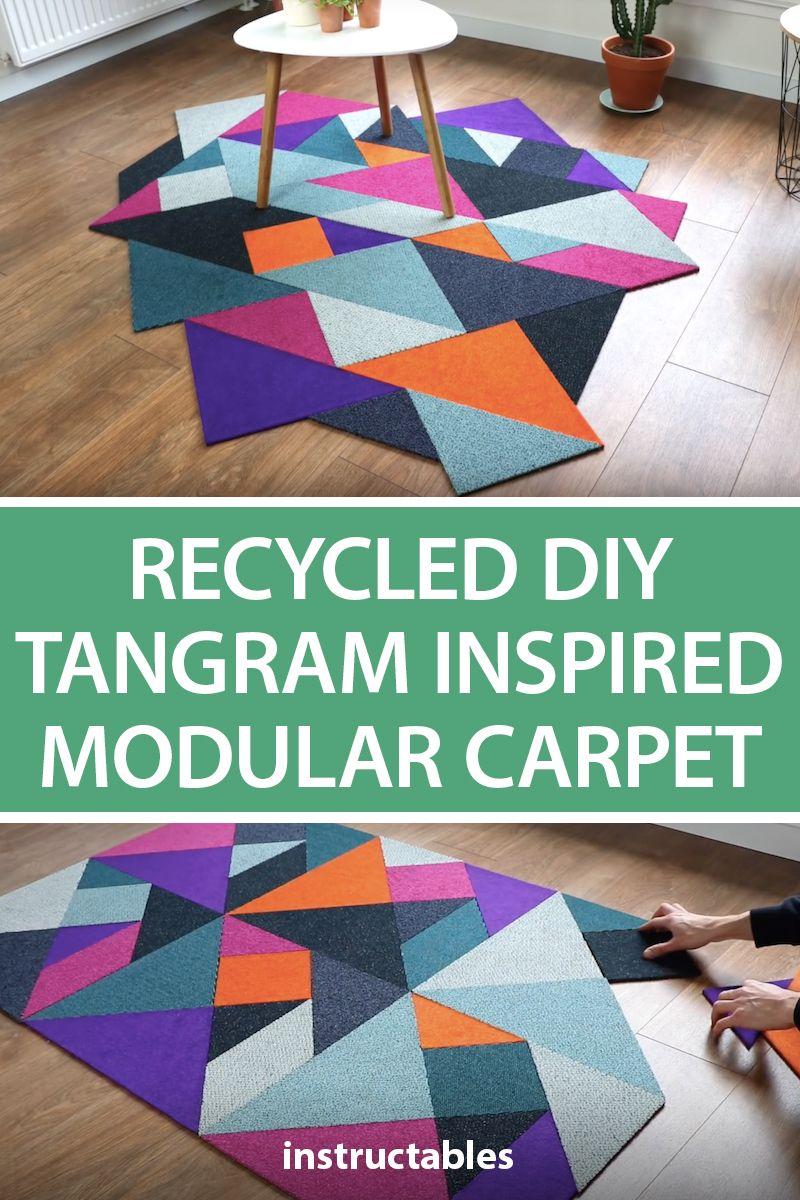 Recycled Diy Tangram Inspired Modular Carpet Carpet Tiles Carpet Tiles Diy Diy Carpet