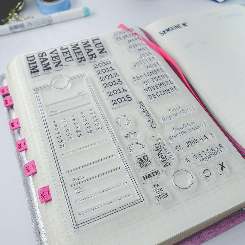 Clear stamps temporels calendrier nom des jours mois