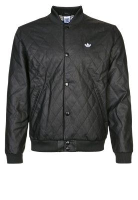 f74ec18f62c3 adidas Originals FAUX - Faux leather jacket - black - Zalando.co.uk ...