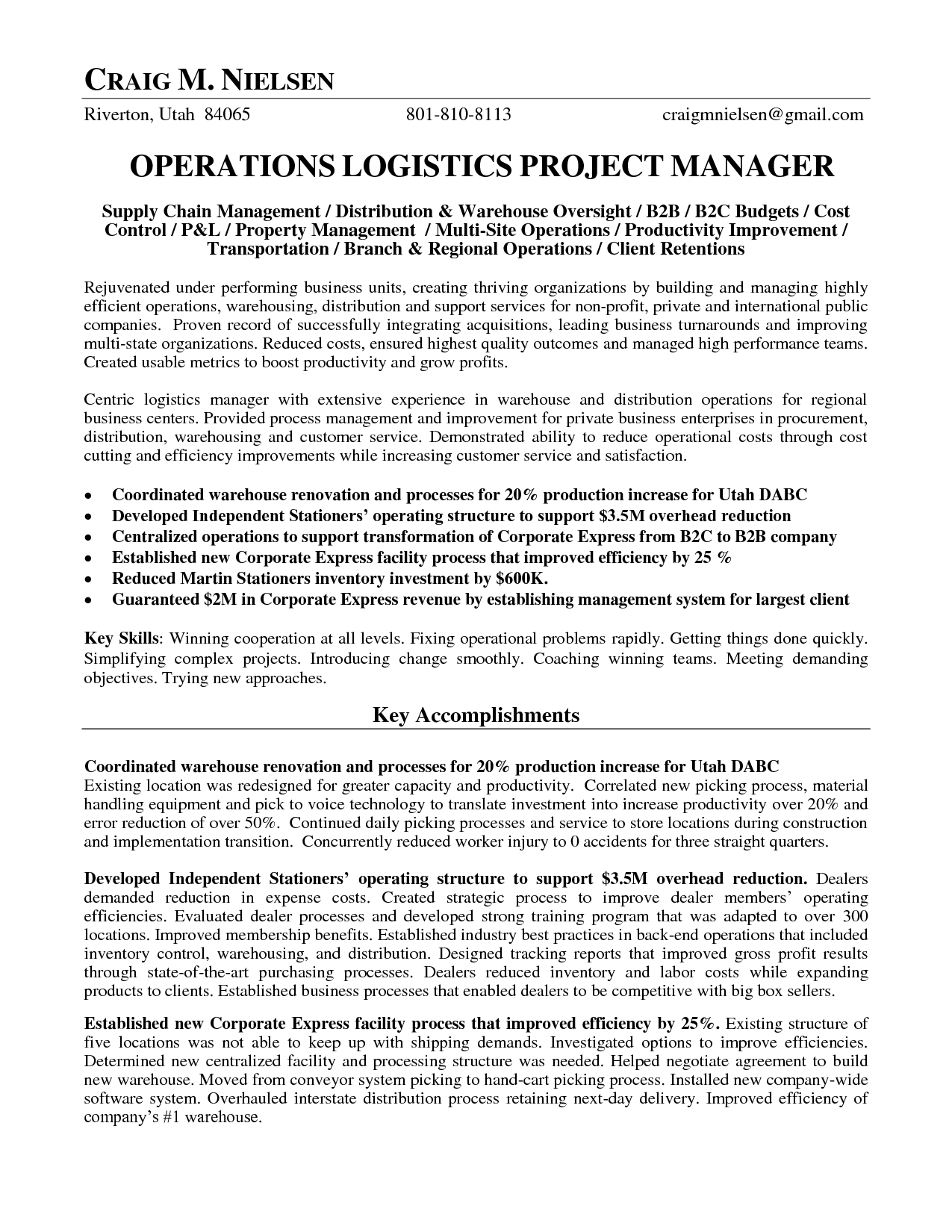 Logistics Operations Manager Resume | Operations Logistics Project Manager  In Salt Lake City UT Resume Craig  Inventory Manager Resume