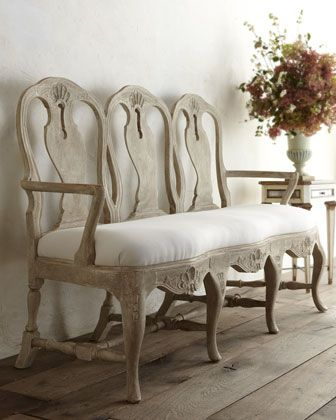 """Swedish Rococo"" Bench by Tara Shaw at Horchow."