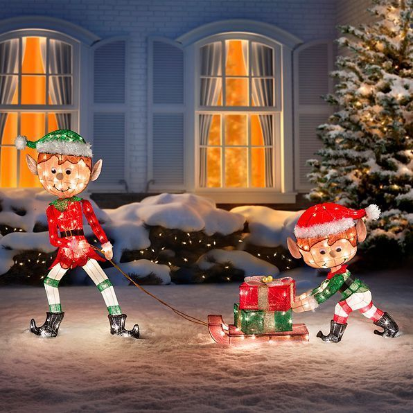 outdoor lighted tinsel 3 piece christmas elves pulling sleigh display yard decor homeimprovements