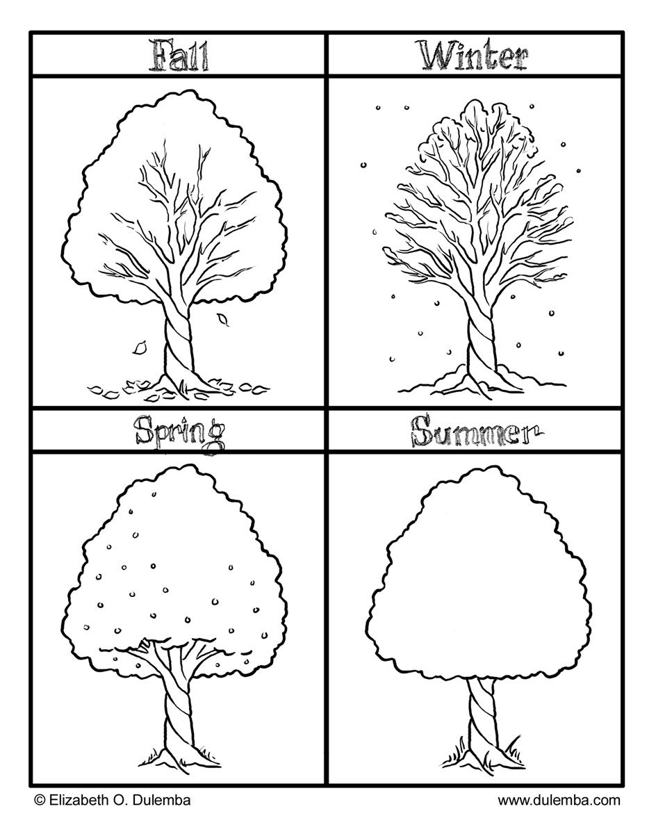 Fall Winter Spring and Summer seasons coloring pages