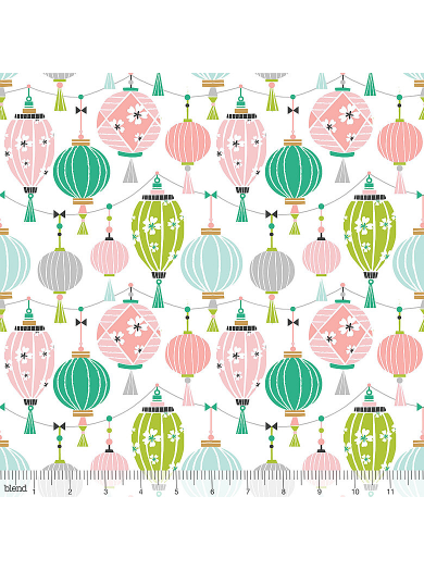 Panda-rama Sky Lantern Fabric Multicolored Floating Strings of Paper Lanterns in Pink and Gray