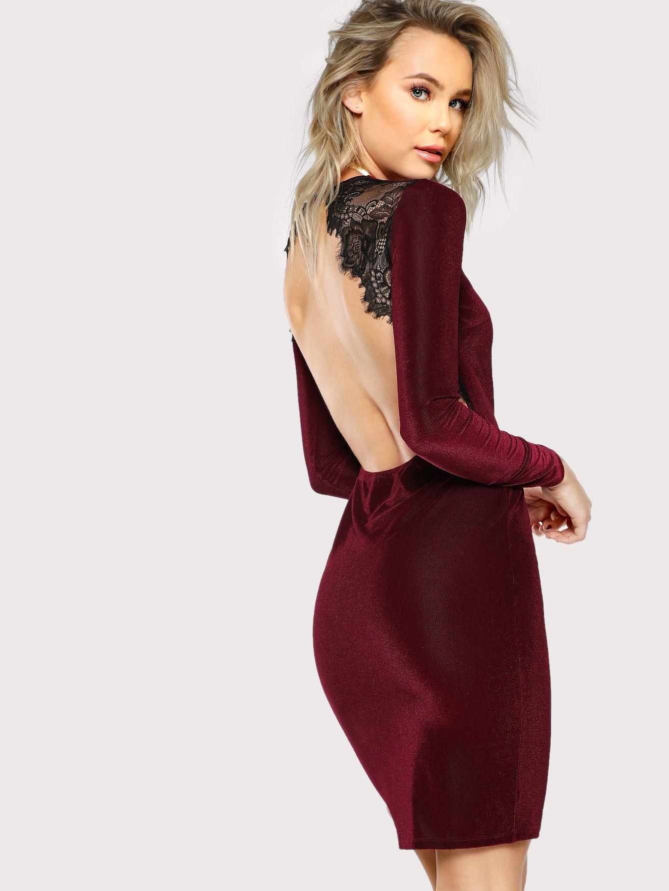 Vestido de encaje con espalda abierta -Spanish SheIn(Sheinside ... 307137c2a379