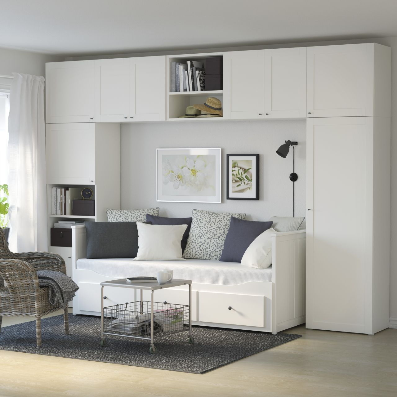 Hemnes Day Bed With Drawers Under The Wardrobe System Makes Small Space Bigger You Can Easil Bedroom Furniture Layout Small Bedroom Furniture Ikea Living Room
