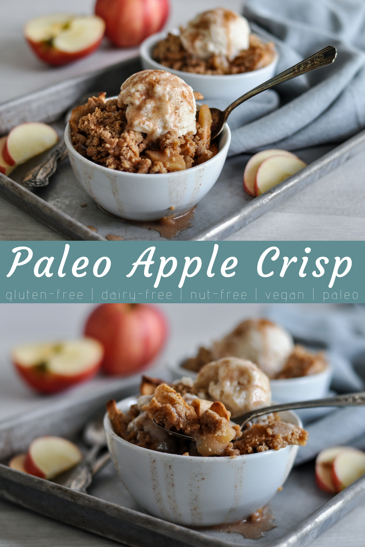 Rich, warm, and creamy with a little crunch on top. Paleo Apple Crisp is all those and more. #glutenfree #dairyfree #paleo #nutfree #vegan #healthybaking