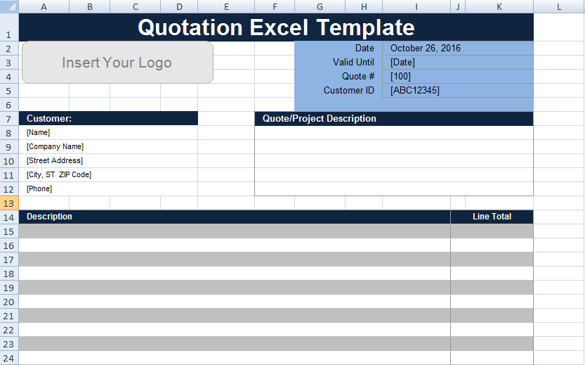 Free Quotation Template Excel UK – Project Management