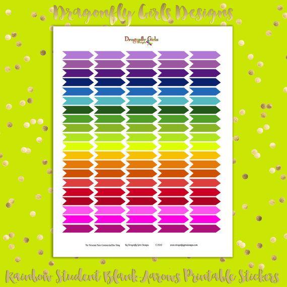 DIY Rainbow Blank Student Arrows 100 Printable Planner Stickers pdf Erin Condren Kate Spade Kikkik Filofax Mambi