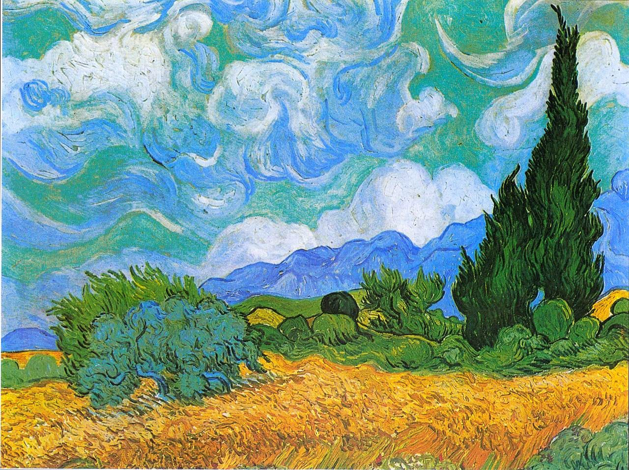 The Athenaeum Wheatfield With Cypress Vincent Van Gogh 1889 美しい絵画 ゴッホ 作品 油絵の花