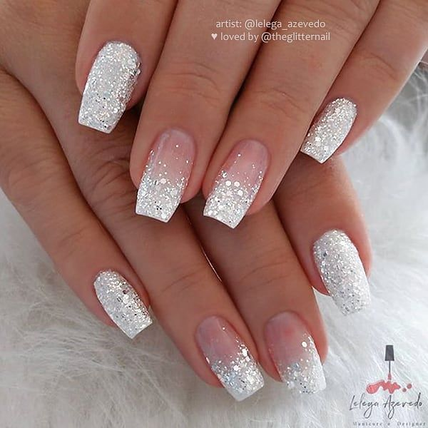 """💎 TheGlitterNail on Instagram: """"❄️❄️❄️ Silver-White Glitter and Glitter Ombre on tapered Square Nails 👌 • 💅 Nail Artist: @lelega_azevedo 💝 Follow her for more gorgeous…"""""""