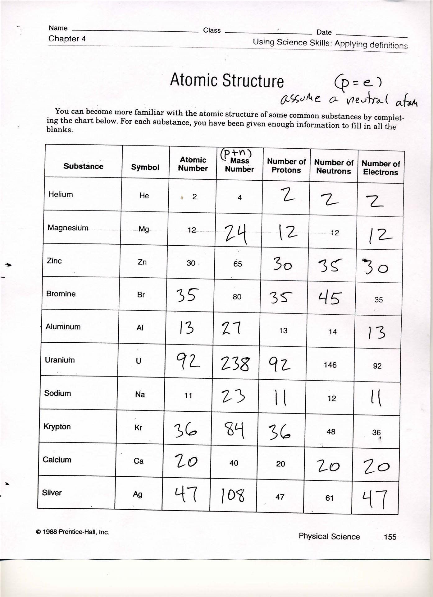 Chemical Reactions Worksheet Grade 8