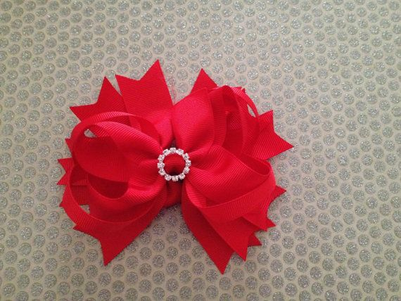 Beautiful Red  Spike Bow with Rhinestone by WhitMariesBoutique, $5.95