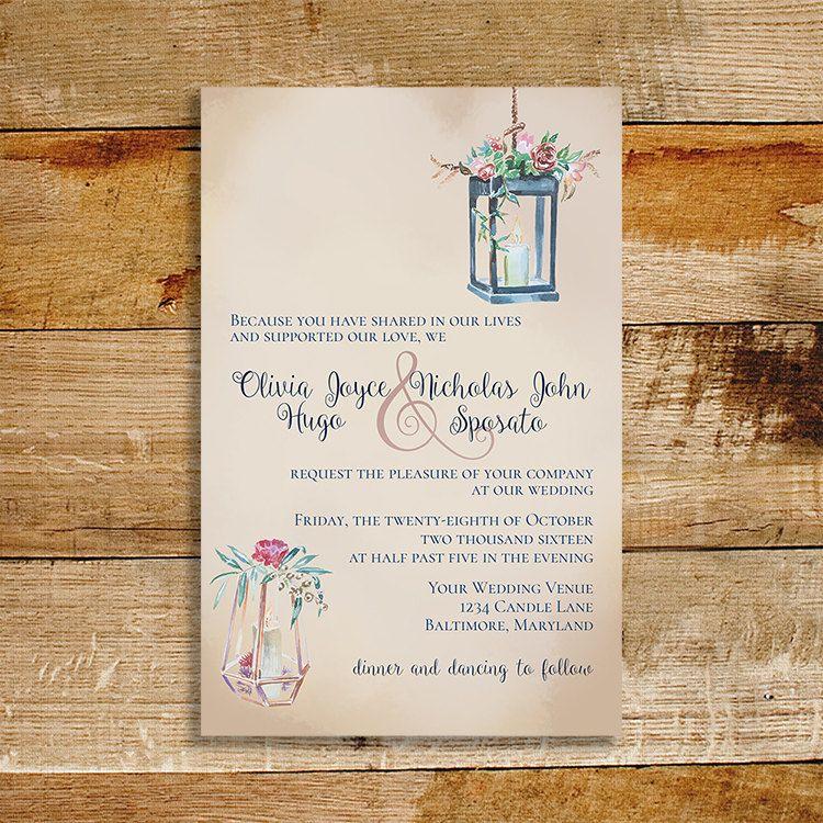 Candlelight Wedding Invitations: Vintage Wedding Invitation