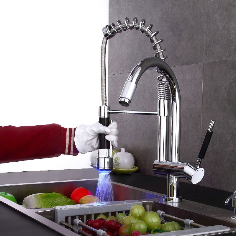Modern Commercial Style Led Single Hole Spring Pull Down Kitchen Faucet In Polished Chrome Finish Chrome Kitchen Faucet Kitchen Sink Faucets