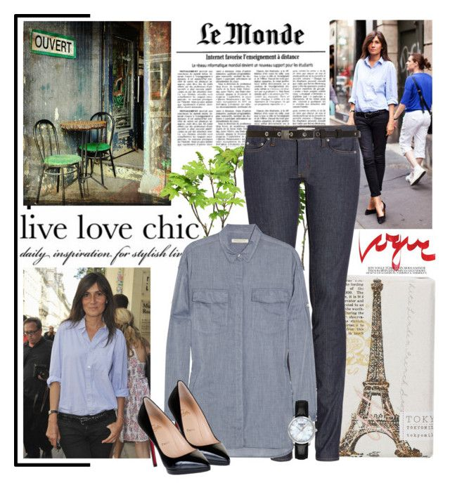 """""""Emmanuelle Alt style"""" by mrs-box ❤ liked on Polyvore featuring WALL, TokyoMilk, Christian Dior, Acne Studios, Levi's Made & Crafted, rag & bone, Christian Louboutin and Tissot"""