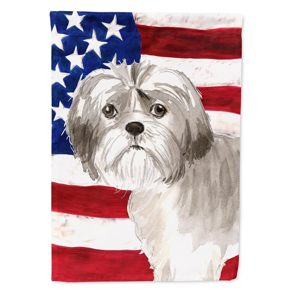 Caroline S Treasures 0 91 Ft X 1 29 Ft Polyester Patriotic Usa Shih Tzu Puppy 2 Sided 2 Ply Garden Flag Shih Tzu Puppy Maltese Shih Tzu